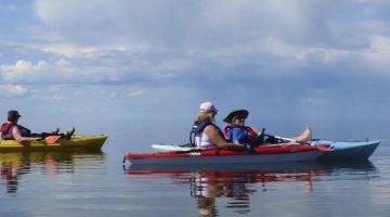 kayaks on still lake